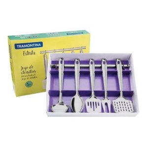 Jogo De Utensilios Cozinha Inox Extrata Colher Concha Espatula - 66815700 Tramontina