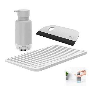 Kit Dispenser Porta Detergente Escorredor Copos Utensílio Rodo Compacto Pia Cozinha - Ou
