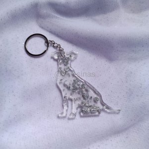 Chaveiro Cachorro Folhas de Prata