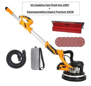 Kit Lixadeira de parede Fast Finish Evo 225mm 220V + Desempenadeira Premium Blade 45CM - Expert