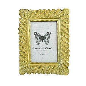 Porta Retrato Dourado Textura Ondulada