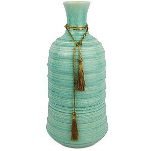 Vaso De Cerâmica Verde Claro e Corda Dourada