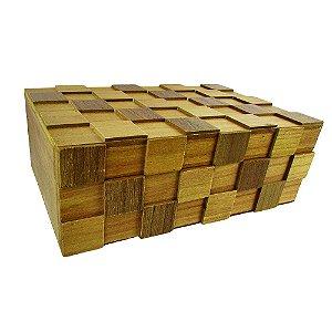 Caixa Decorativa De Madeira Geométrica 30x11