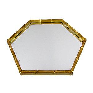 Bandeja Espelhada Octogonal Dourada