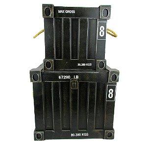 Baú Decorativo Preto Container Corda 2pcs