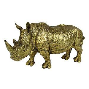 Escultura Decorativa Rinoceronte Dourado