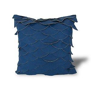 Almofada Couro Natural Azul Com Detalhes 48x48
