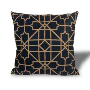 Almofada De Veludo Formas Abstratas Azul e Dourado 46x46