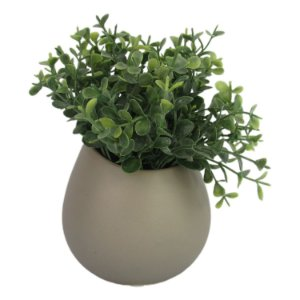 Vaso Pequeno Cinza Com Planta Artificial