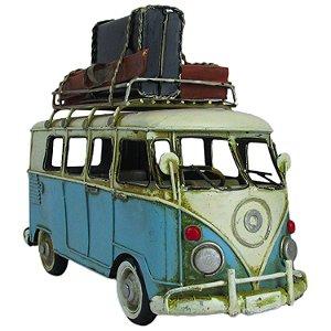 Kombi Decorativa Miniatura Vintage Bagagem Viagem Azul