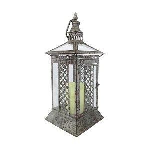 Lanterna Cj Estilo Envelhecido Metal Cinza