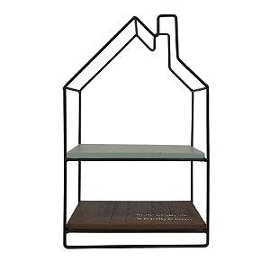 Prateleira Metal Madeira Forma Casa Decorativa