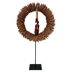 Escultura Adorno Decorativo Cocar Indígena Rústico