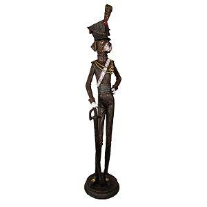 Escultura Cachorro Fardado Soldado Decorativo