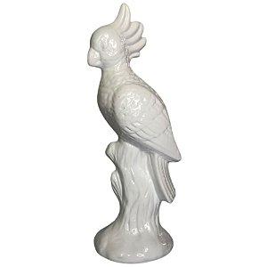 Escultura Pássaro Cacatua Branca