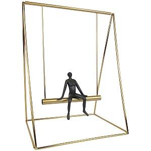 Escultura Decorativa Balanço Dourado Grande