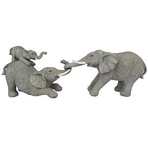 Escultura Elefante Decoração Em Resina Cinza
