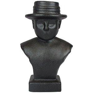 Escultura Busto Homem De Chapéu Preto