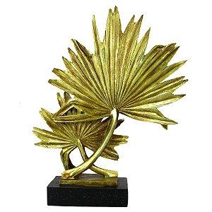Escultura Folha Dourado Em Resina