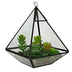 Vaso Estilo Triangulo De Vidro Com Suculentas E Pedrinhas