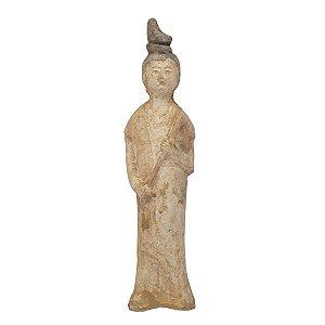 Escultura Chinesa Branco Envelhecido