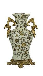 Vaso Decorativo Em Cerâmica Com Flores Dourado