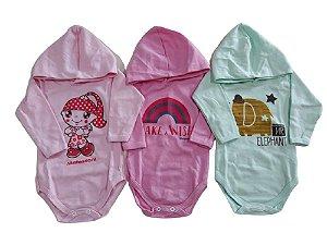 Body Bebê Menina Manga Longa Capuz 3 Peças Rosa Claro, Rosa Soft e Sortido Ref. 541
