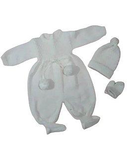 Macacão Pompom Touca Luva Saída Maternidade Ele Ela  Ref.129