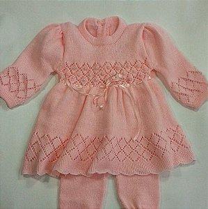 Saída Maternidade Batizado Vestido Lã Calça Bordado  Ref.114