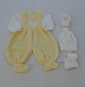 Maternidade Batizado Macacão Touca Sapato Luvinha  Ref. 144