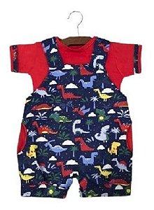 Macacão Jardineira Mundo Animal E Camiseta  Bebê Ref. 518