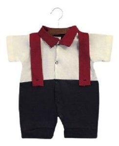 Macacão Curto Jardineira Bebê Suspensório Gola Polo Ref. 517