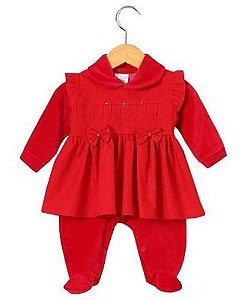 Vestido Nervura + Macacão Bebê Saída De Maternidade Ref. 521