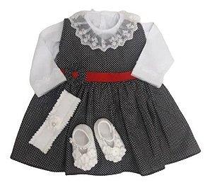 Completo Vestido+ Body Renda+ Sapatinho + Faixa Bebê Ref.502