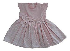 Vestido Tricoline Regata Rosa Bebê Menina  Ref. 526