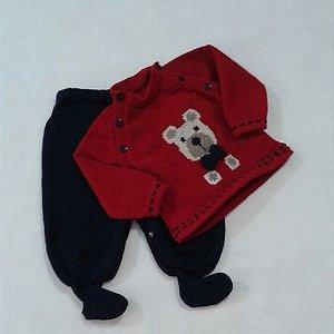 Conjunto De Blusa Bordada E Calça Para Bebê Em Lã Ref.178