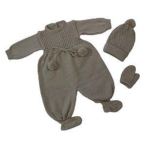 Luxuoso Confortável Macacão Touca Luva Bebê Ele/ela Ref. 129