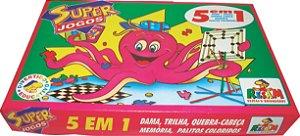 BRINQUEDO SUPER JOGOS 5X1 DAMA, TRILHA, QUEBRA-CABEÇA, MEMÓRIA e PEGA PALITO/VARETA