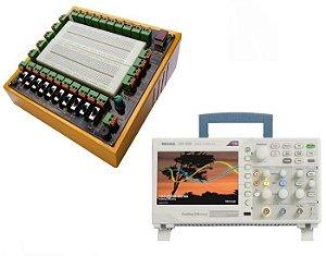 Pacote Educacional II – Módulo Didático de Eletrônica Digital MPLD10C + Osciloscópio Digital de 50MHZ, 02 canais, Tektronix