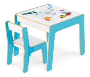 Conjunto Mesa Infantil Em Madeira Com Cadeira Azul Mesinha Didatica - Junges