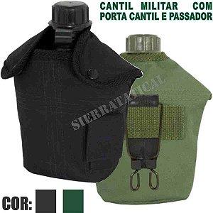 Cantil Militar Com Porta Cantil E Passador - Verde Ou Preto.