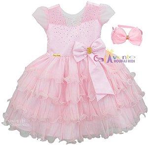 Vestido Infantil Princesa Realeza Chuva De Benção Com Tiara