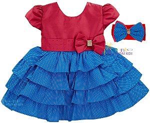 c5031fff9c Vestido de Festa Infantil Galinha Pintadinha Rosa com Faixa de ...