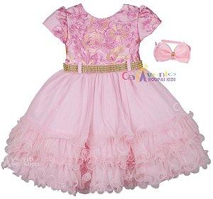 Vestido de Festa Infantil Princesa Realeza Luxo com Tiara de Brinde