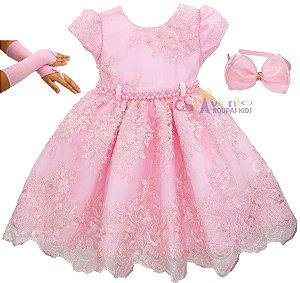 Vestido Infantil Daminha Realeza Provençal Chique Com Luvas e Tiara
