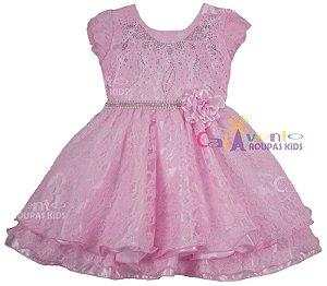 Vestido Festa Infantil Princesa Rosa Luxo Tam 1 ao 4 Com Tiara