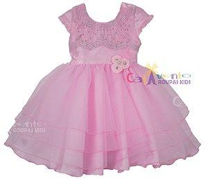 Vestido de Festa Infantil Princesa Rosa com Tiara de Brinde