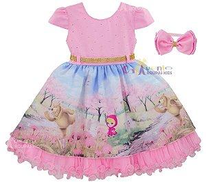 Vestido Infantil Festa Luxo Masha E O Urso Com Tiara 1 Ao 3