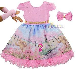 Vestido Infantil Festa Luxo Masha E O Urso Jardim Encantado Com Tiara e Luvas