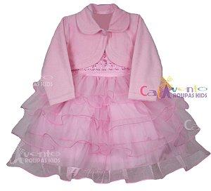 Vestido Infantil De Festa Princesa Rosa Com Bolero e Tiara de Brinde
